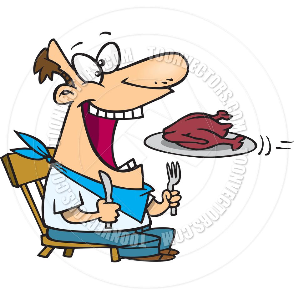 940x940 Cartoon Man Eating Turkey By Ron Leishman Toon Vectors Eps