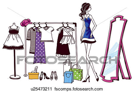 450x308 Clipart Of Woman Trying Out Clothes In Store U25473211