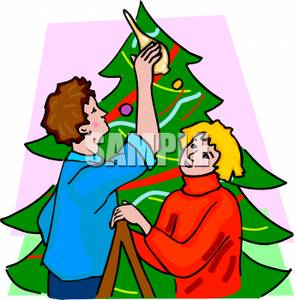 295x300 Couple Decorating A Christmas Tree Clip Art Image
