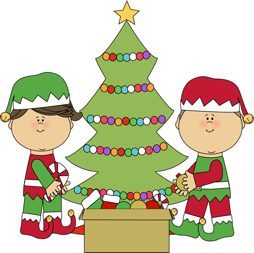500x498 Elves Decorating A Christmas Tree Clip Art