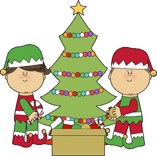 500x498 Elves Decorating A Christmas Tree Clip Art