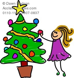 285x300 Image Of A Happy Little Girl Decorating A Christmas Tree