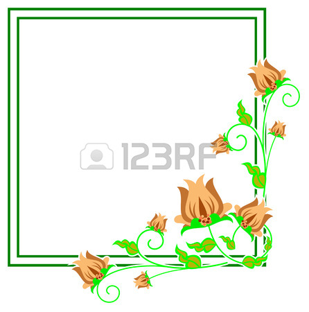 446x450 Square Decorative Frame With Abstract Flowers. Vector Clip Art