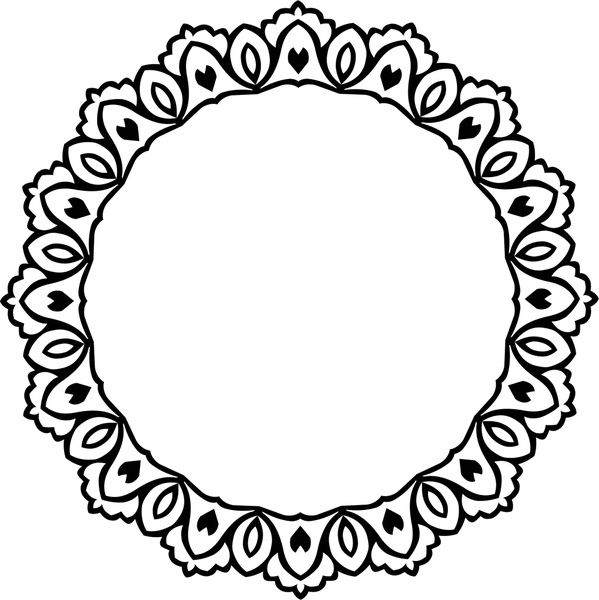 599x600 Decorative Circle Design With Vintage Abstract Border Free Vector