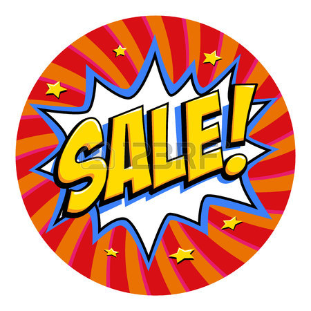 450x450 Round Shape Sale Tag. Purple Sale Web Banner. Pop Art Comic Sale