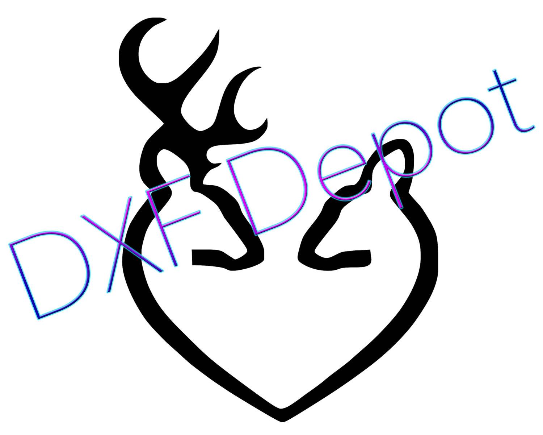 1500x1200 Deer Heart Browning Dxf Vector Art Clip Art Svg Png