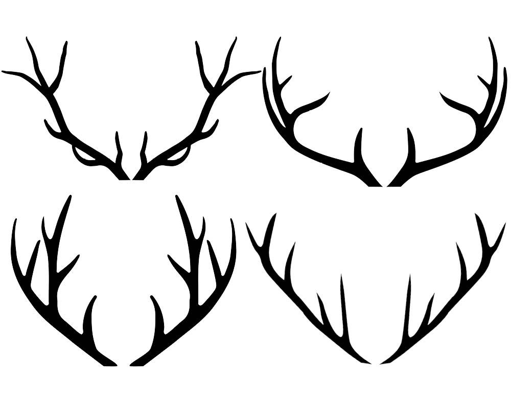 1000x800 Antler Clipart Black And White
