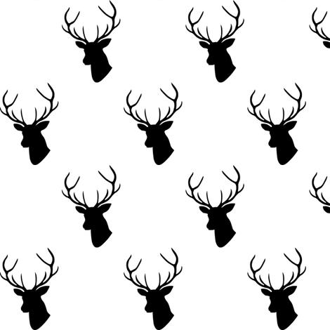 470x470 Black Amp White Deer Half Scale Fabric
