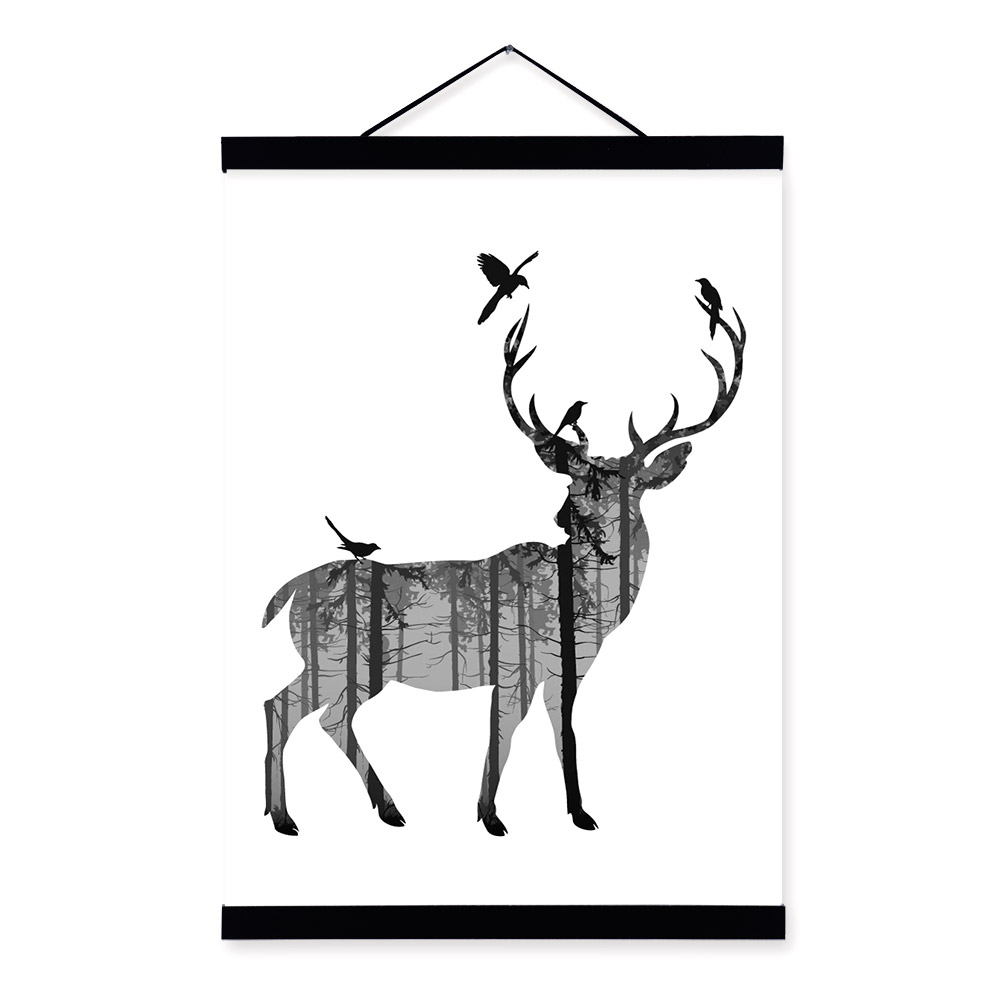 1000x1000 Deer Black White Nordic Minimalist Animal Silhouette A4 Framed