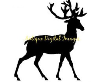 340x270 Deer Black And White Etsy