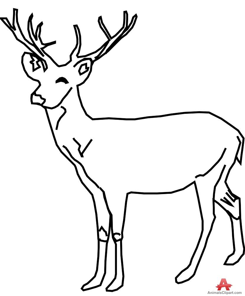 830x999 Monochrome Clipart Deer