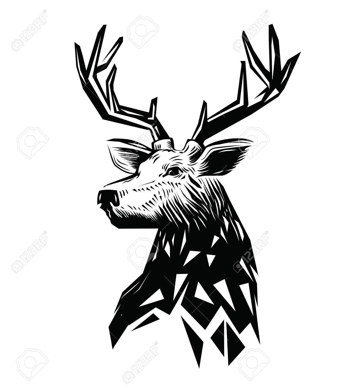 1128x1300 Vector Black Deer Head Icon On White Background Royalty Free