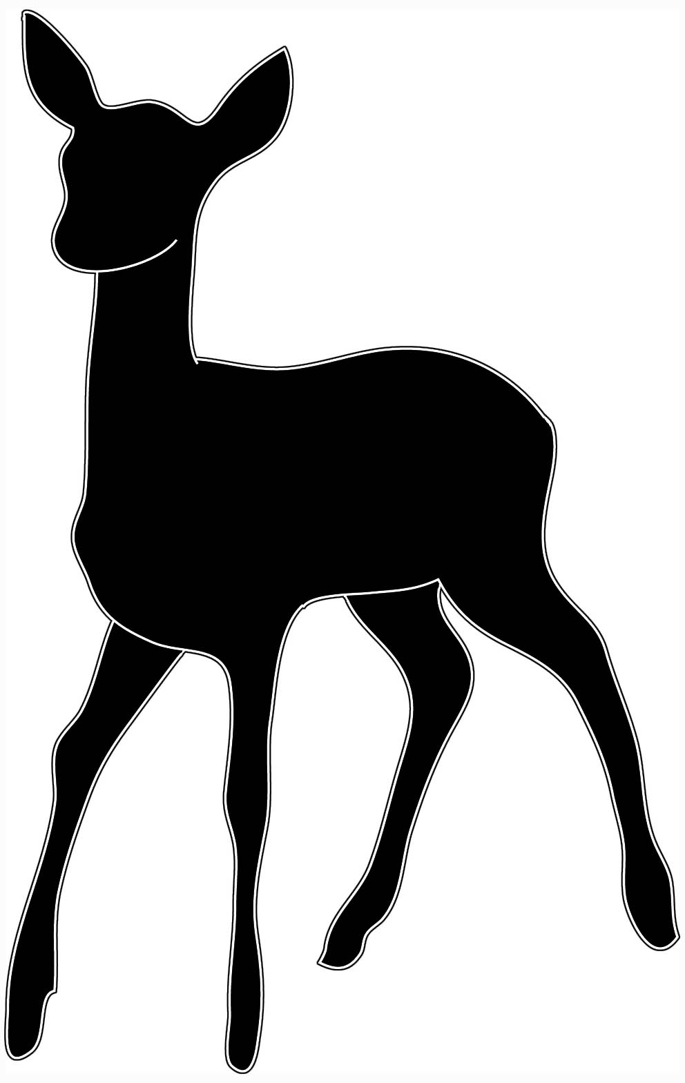 992x1569 Baby Deer Clipart Black And White Free