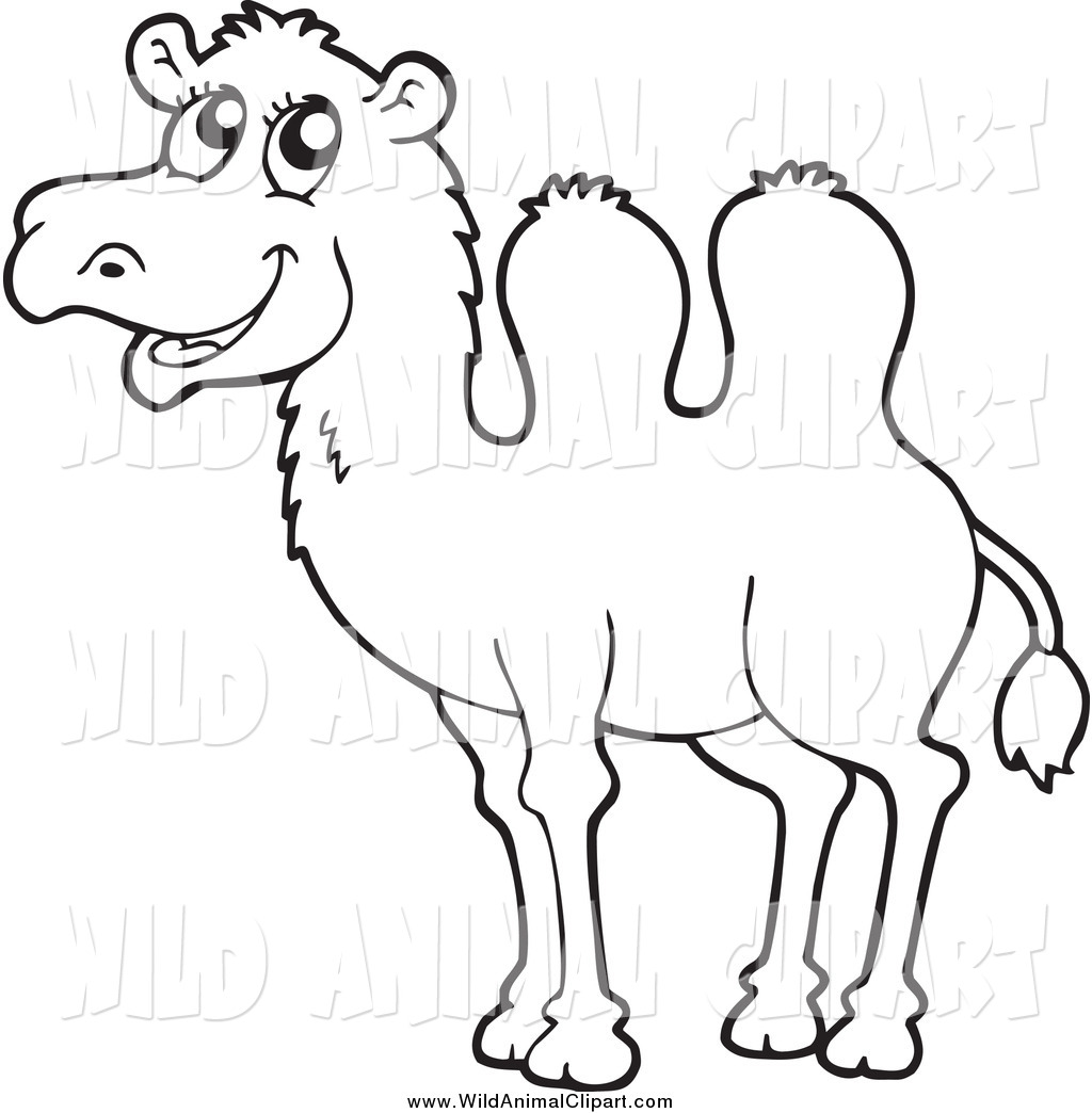 1024x1044 Clip Art Of A Black And White Happy Camel By Visekart