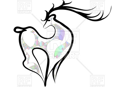 Deer Black And White Clipart