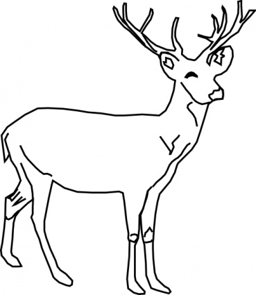369x425 Deer Clipart Black And White