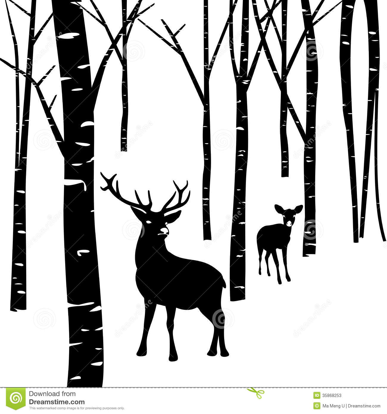 1300x1390 Forest Deer Clipart Black And White