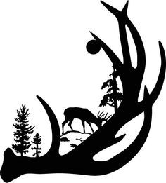 236x261 Wildlife Clip Art Silhouettes Mountain Scene Deer Family Metal