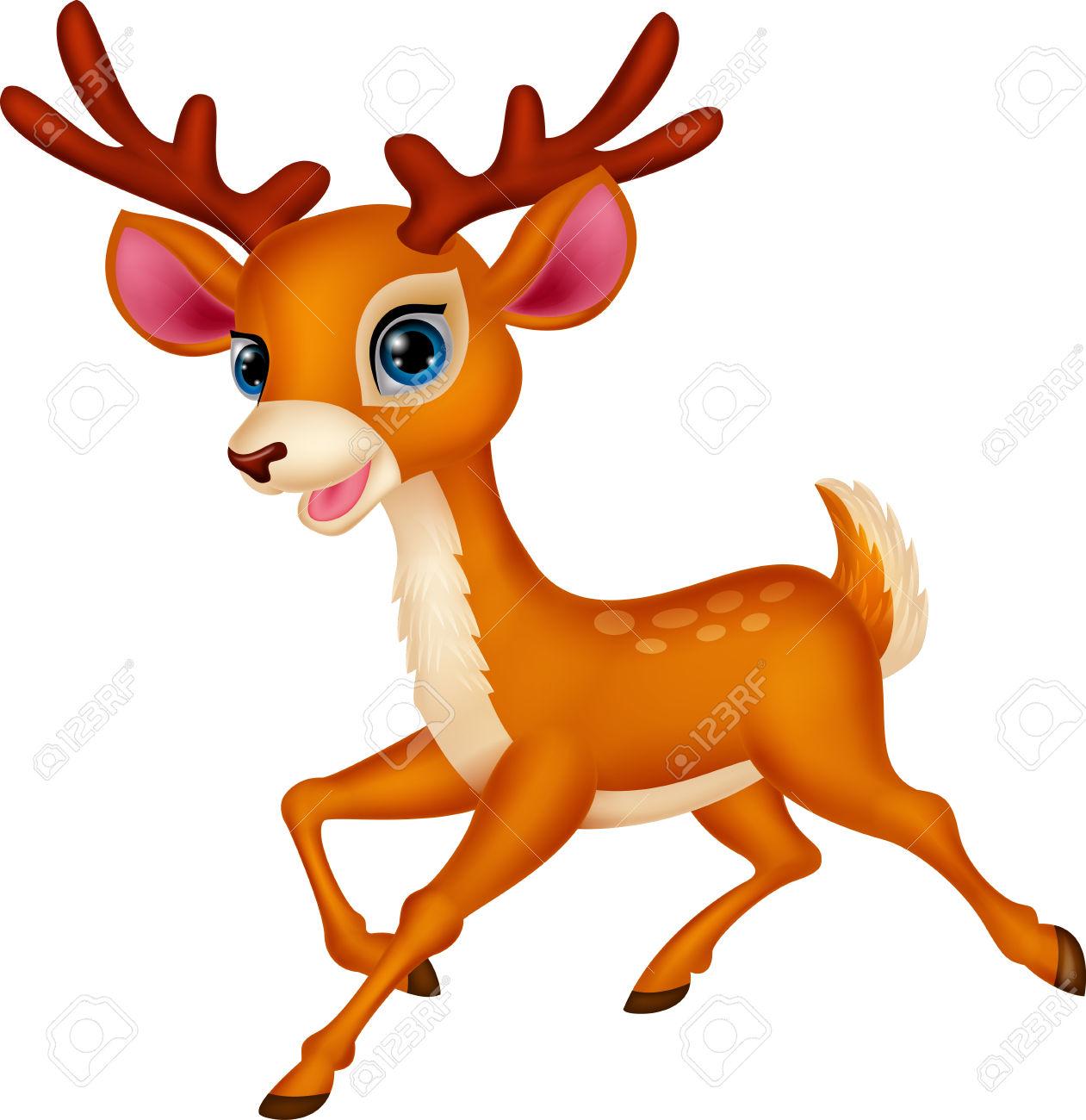 1261x1300 Cute Deer Cartoon Running Stock Vector Christmas Id 33490