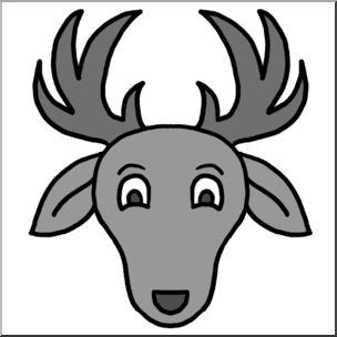 304x304 Clip Art Cartoon Animal Faces Deer Grayscale I