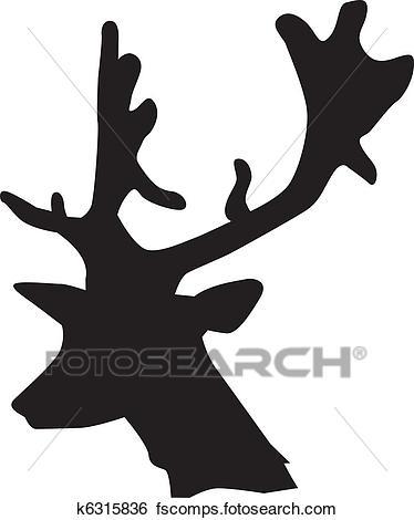 374x470 Clip Art Of Silhouette Of Deer K6315836