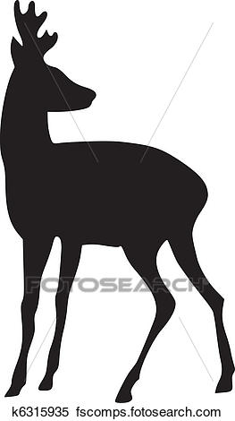 263x470 Clipart Of Silhouette Of Roe Deer K6315935