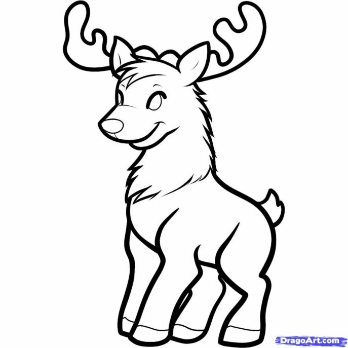 687x687 Coloring Pages Reindeer Drawings Hqdefault Coloring Pages