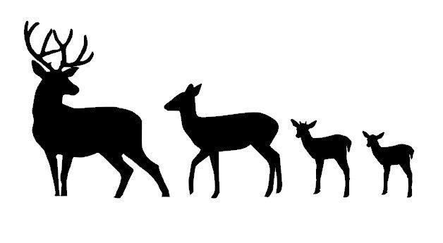 628x345 Deer Family Silhouette Clip Art