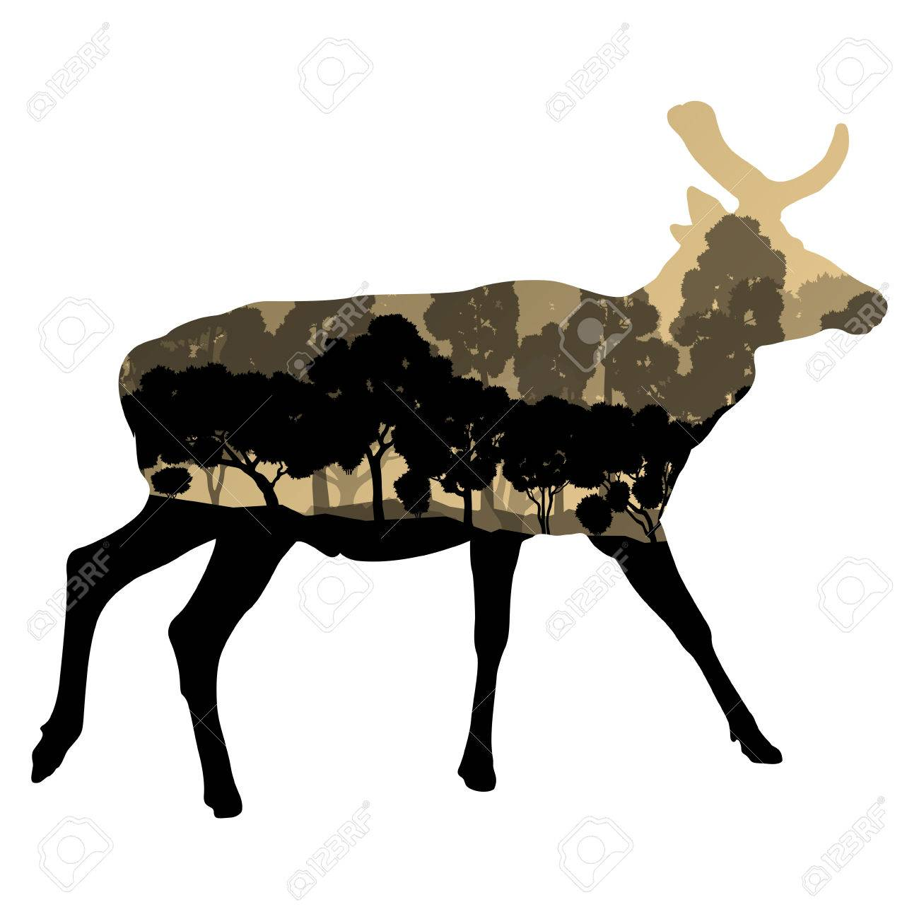 1300x1300 Deer Wild Animal Silhouette In Nature Forest Landscape Abstract