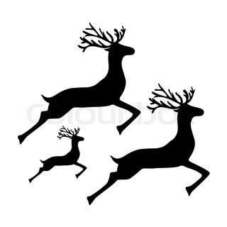 320x320 Fallow Deer Silhouette Icons Eps10 Stock Vector Colourbox