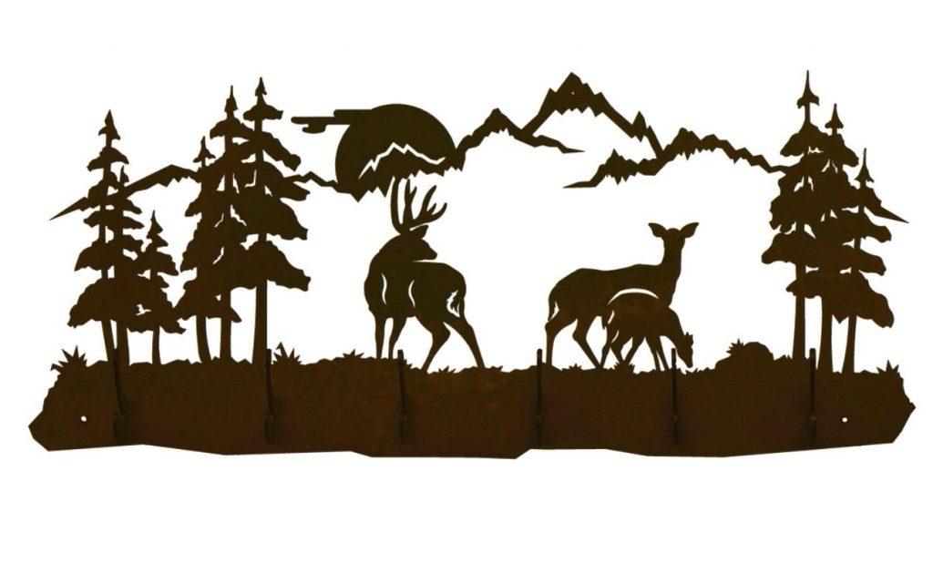 1024x630 Best Hd Deer Family Scene Six Hook Metal Wall Coat Rack Drawing