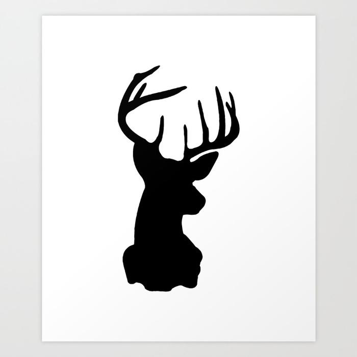 700x700 Black Amp White Stag Head Art Print By Minimallife Society6