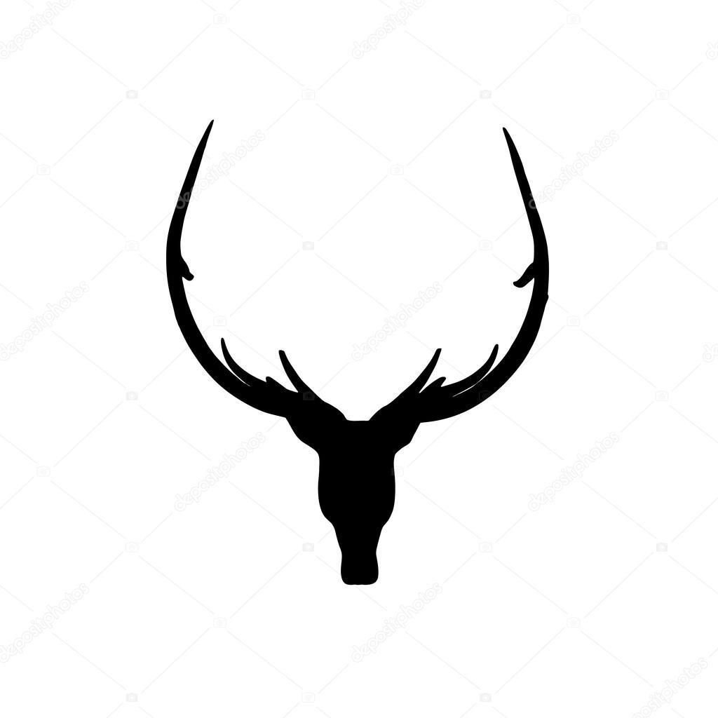 1024x1024 Black Deer Head Silhouette On White Background Stock Photo