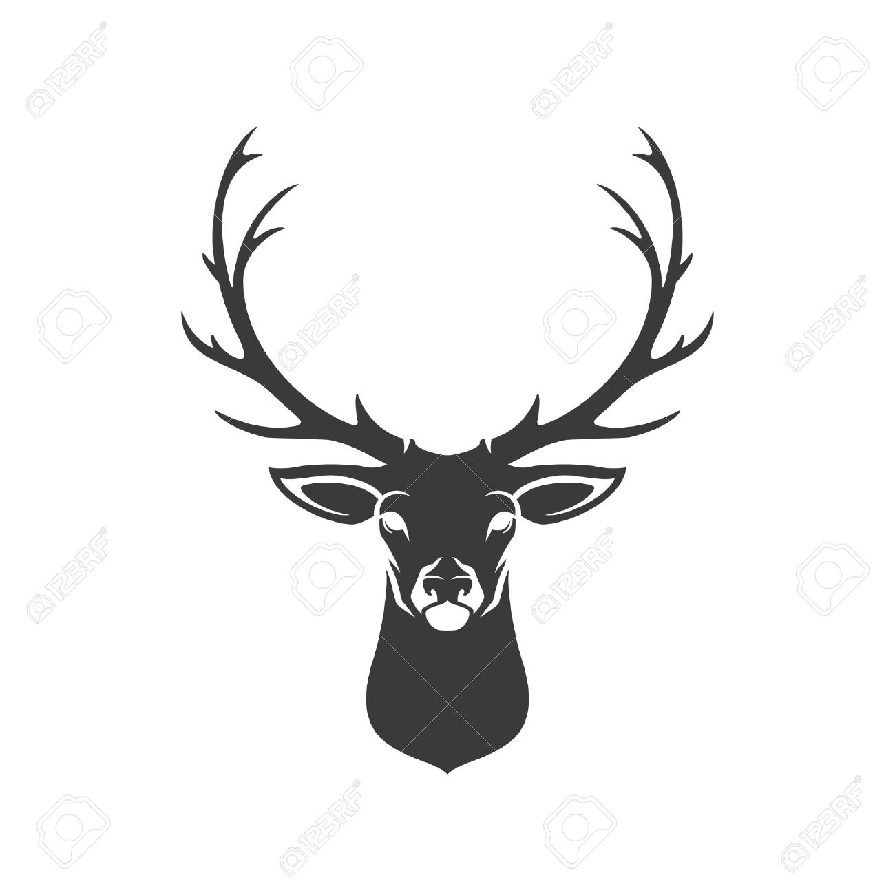 1300x1300 Deer Head Silhouette Isolated On White Background Vector Object