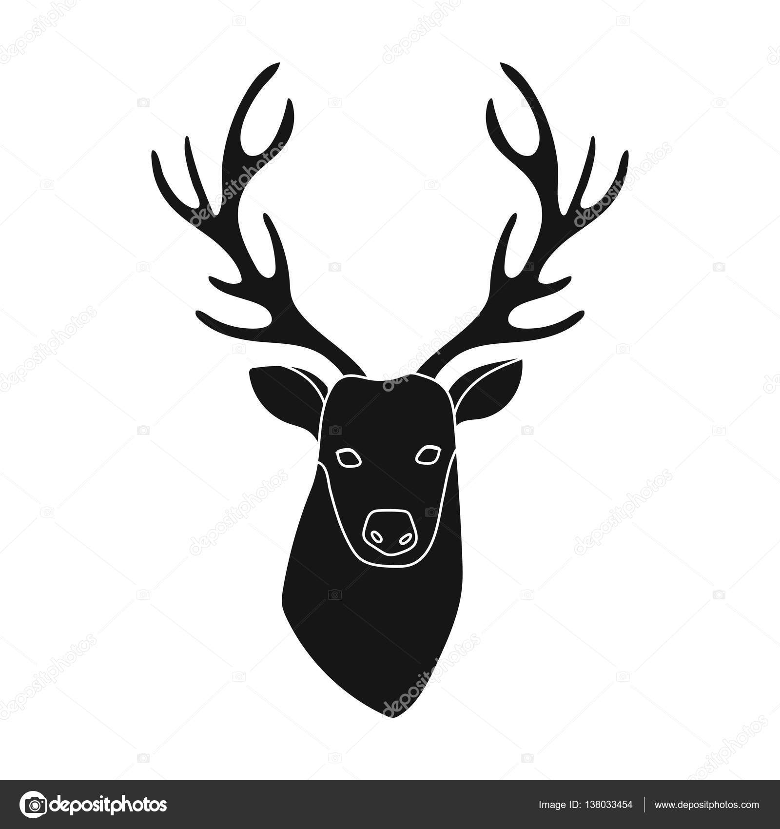 1600x1700 Deer Head Icon In Black Style Isolated On White Background