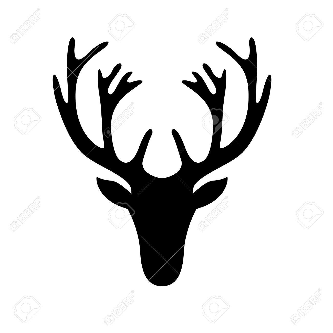 1300x1300 Illustration Of A Deer Head Silhouette Isolated On White Royalty