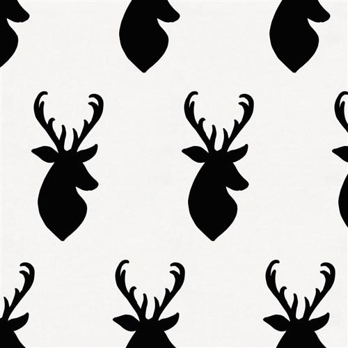500x500 Onyx Deer Head Fabric By The Yard Black Fabric Carousel Designs