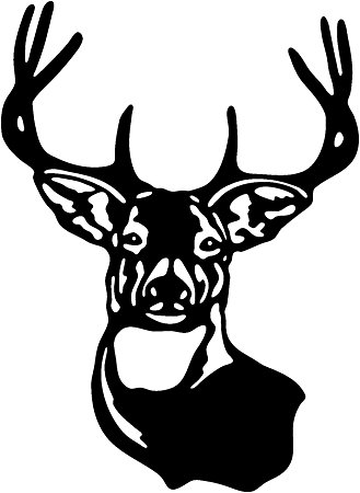329x450 Deer Family Head Black And White Clipart