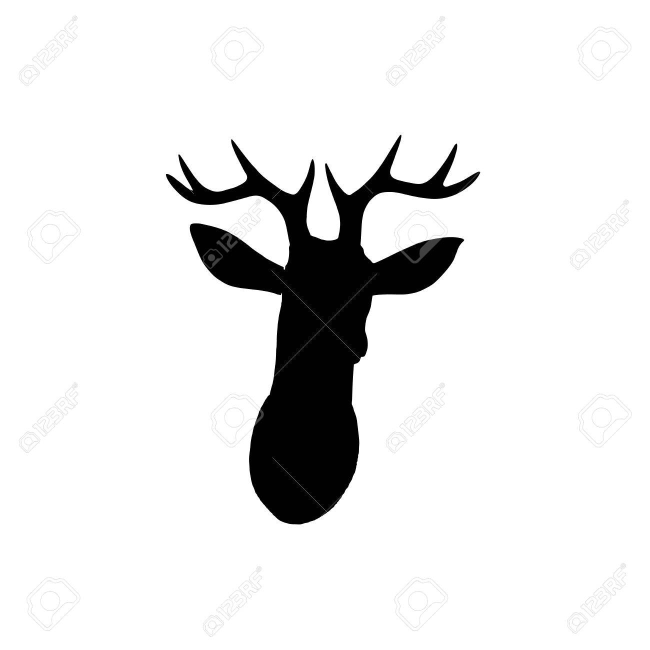 1300x1300 Black Deer Head Silhouette On White Stock Photo, Picture