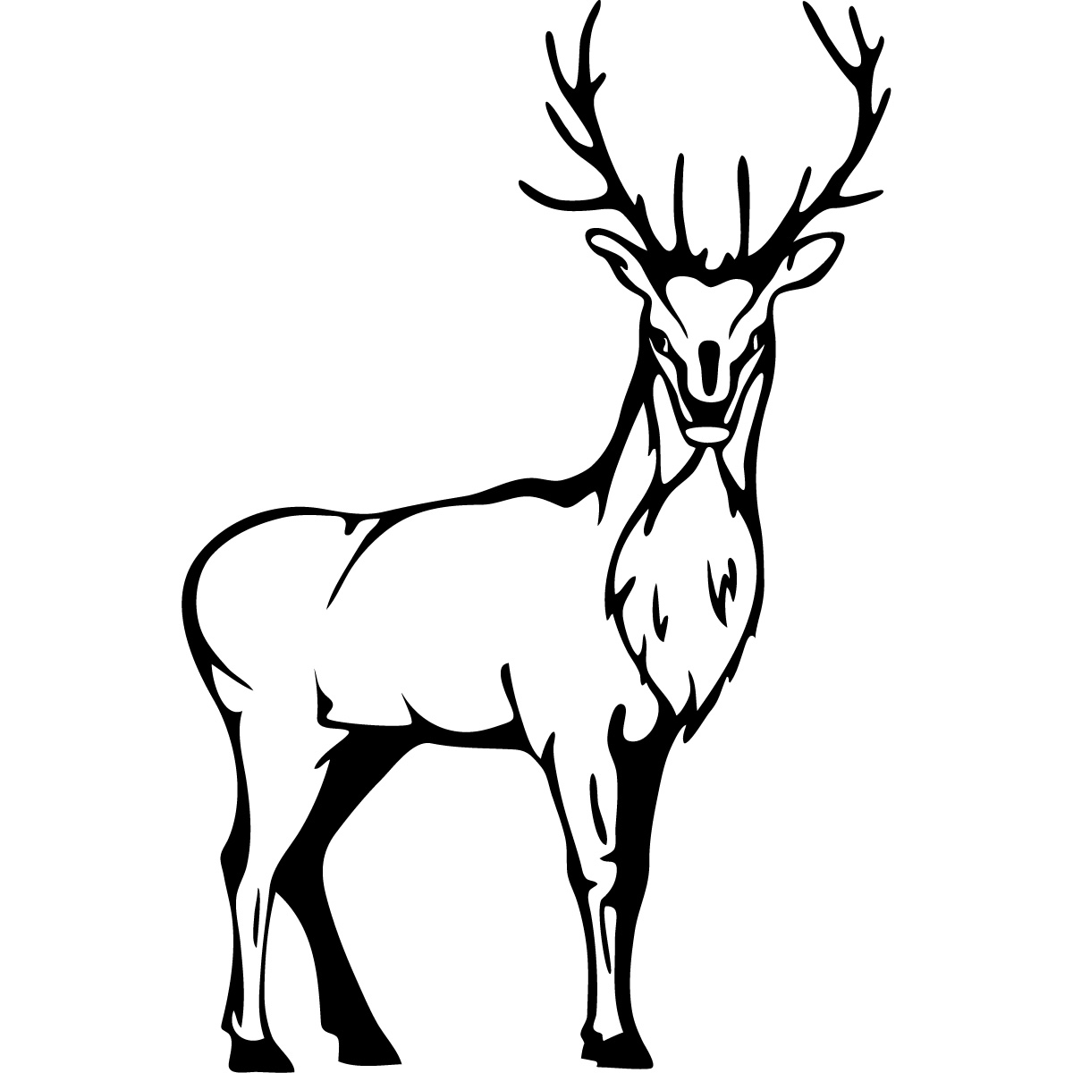 Deer head stag. Clipart black and white
