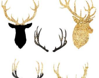 340x270 Glitter Deer Clipart Etsy