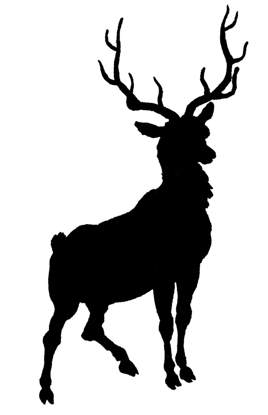 1032x1600 Vintage Clip Art Deer With Antlers Silhouette The Graphics Fairy