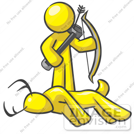 450x450 Clip Art Graphic Of A Yellow Guy Character Hunting Deer