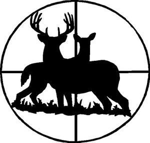 300x287 Deer In Cross Hairs Decal Whitetail Vinyl Hunting Stickers Ebay