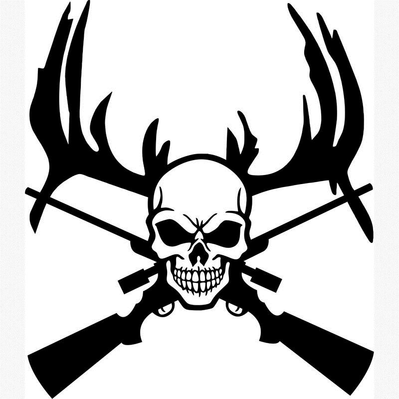 800x800 Skull Hunter Wall Posters Stick On Wall Art Home Decor Deer Antler