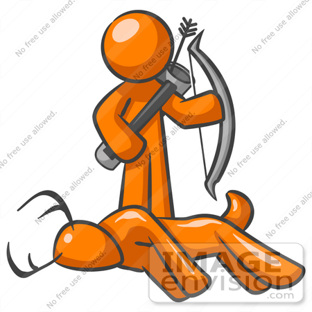 450x450 Clip Art Graphic Of An Orange Guy Character Holding A Bow