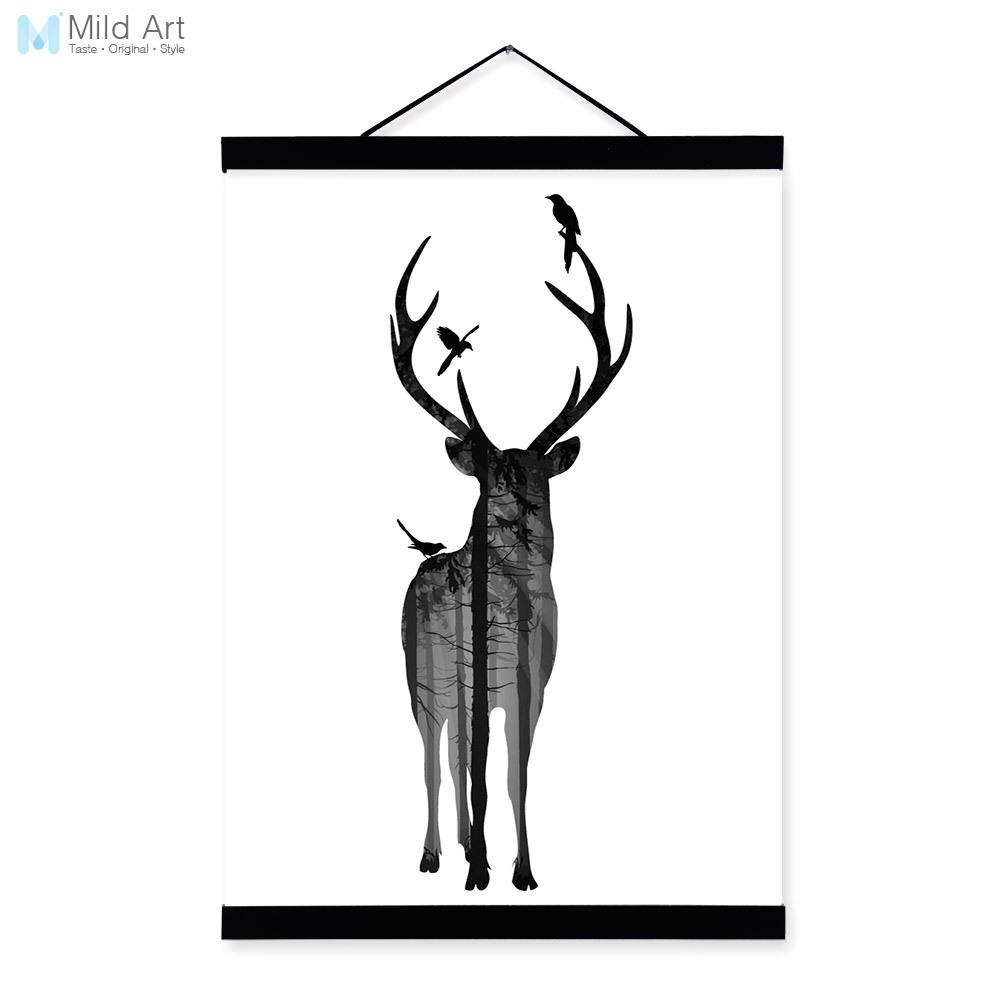1000x1000 Deer Bird Black White Nordic Minimalist Animal Silhouette Wood
