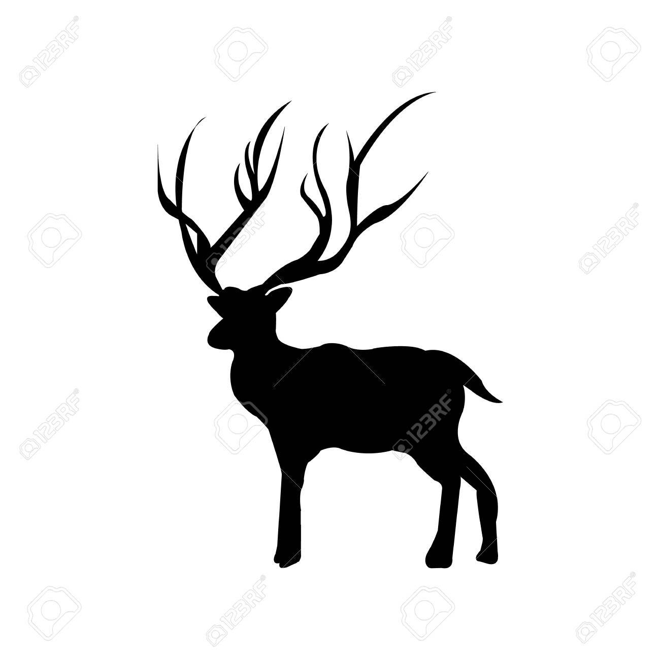 1300x1300 Deer Silhouettes On The White Background Royalty Free Cliparts