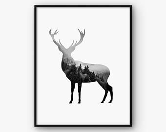340x270 Deer Wall Art Etsy