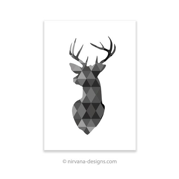570x570 Geometric Deer Black And White Print Nirvana Designs